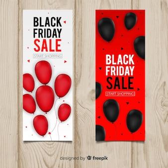 Banner di vendita venerdì nero con palloncini