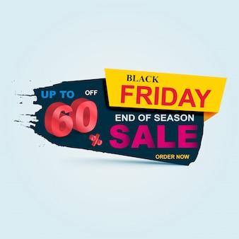 Banner di vendita venerdì nero. grande vendita, sconto fino al 60%. vendita modello di banner design