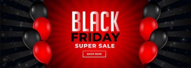 Banner di vendita venerdì rosso e nero con palloncini