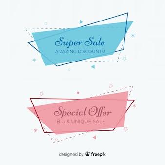 Banner di vendite geometriche colorate