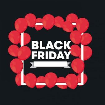Banner di venerdì nero con aria palloncini
