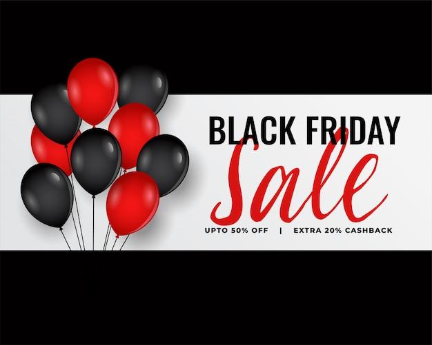 Banner di venerdì nero moderno con palloncini rossi e neri