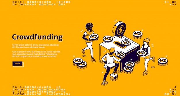Banner di vettore di crowdfunding