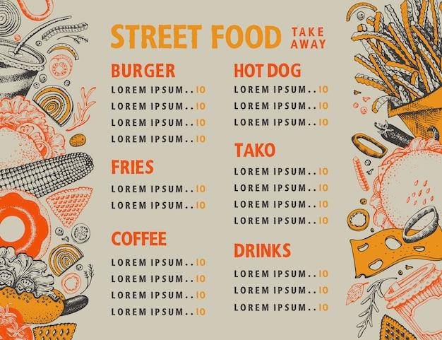 Banner di vettore di fast food. modello di progettazione del menu di cibo di strada.