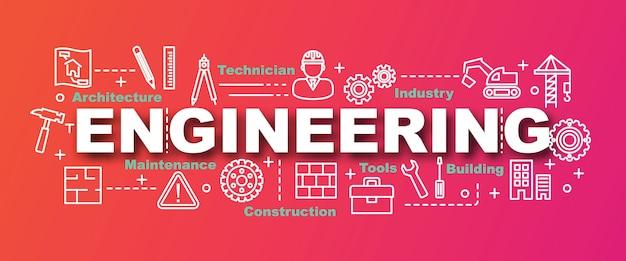 Banner di vettore di ingegneria di tendenza