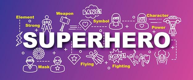 Banner di vettore di supereroe alla moda
