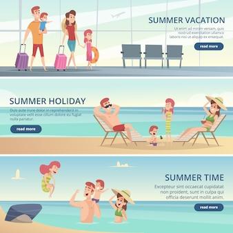 Banner di viaggio famiglia felice. vacanze estive sul mare tropicale con sfondi di genitori e bambini per le carte