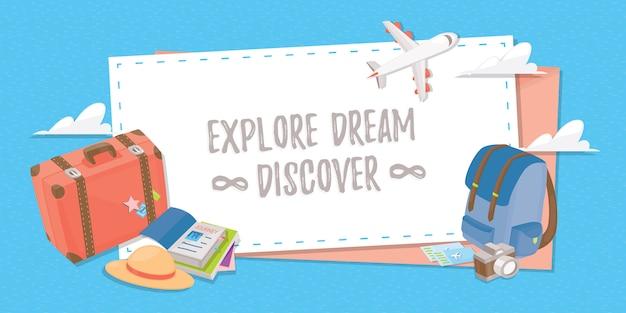 Banner di viaggio per web, poster o applicazione.