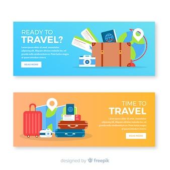 Banner di viaggio piatto con la valigia