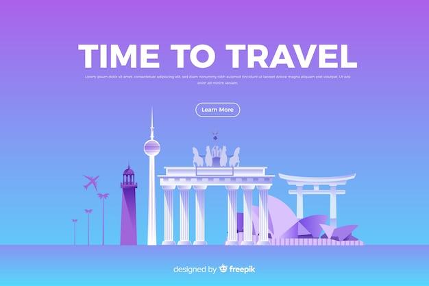 Banner di viaggio piatto con monumenti