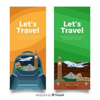 Banner di viaggio piatto