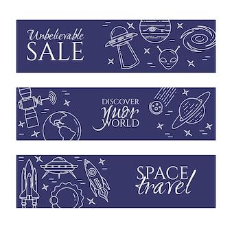 Banner di viaggio spaziale con pittogrammi di cosmo linea.