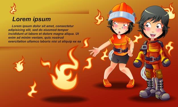 Banner di vigile del fuoco in stile cartone animato.