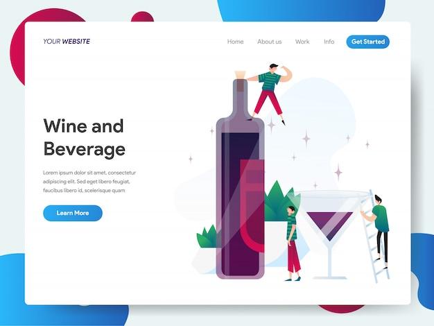 Banner di vino e bevande per landing page