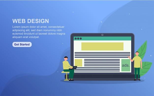 Banner di web design. concetto di illustrazione facile da modificare e personalizzare.