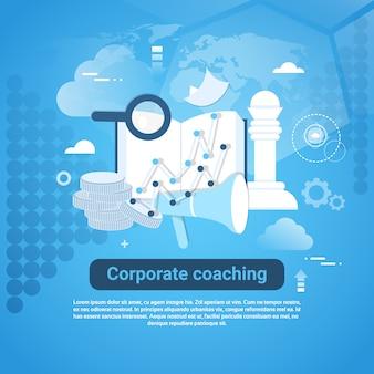 Banner di web modello di coaching aziendale con spazio di copia