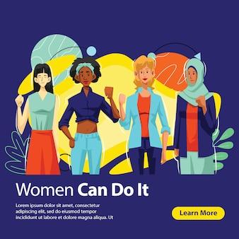 Banner di women power in diversity,