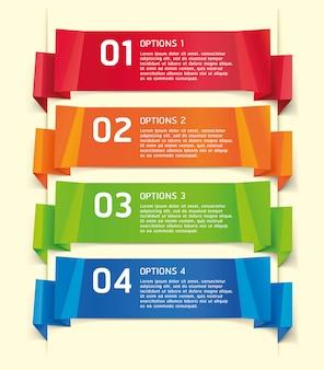 Banner e carta di opzioni di numero di stile origami colorati.