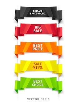 Banner e carta di opzioni di stile origami colorati.