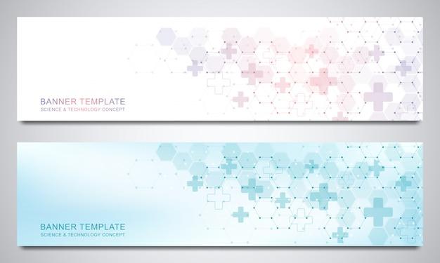 Banner e intestazioni per sito con sfondo medico ed esagoni. geometrico astratto. design moderno per sito web di decorazione e altre idee.