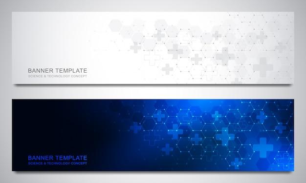 Banner e intestazioni per sito con sfondo medico ed esagoni. trama geometrica astratta design moderno per sito web di decorazione e altre idee.