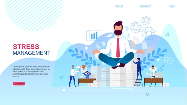 Banner è scritto landing page di stress management.
