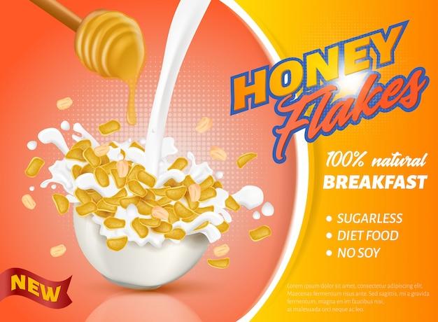 Banner è scritto nuovo honey flakes realistico.