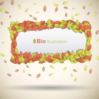 Banner eco con foglie colorate cornice piatta