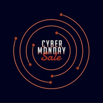 Banner elegante vendita cyber lunedì con linee circolari