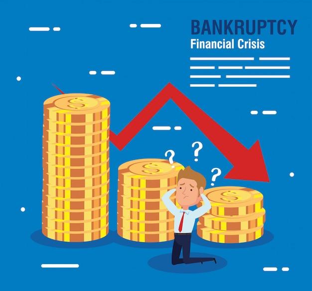 Banner fallimento crisi finanziaria, uomo d'affari preoccupato con monete e freccia verso il basso