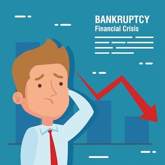 Banner fallimento crisi finanziaria, uomo d'affari preoccupato e infografica