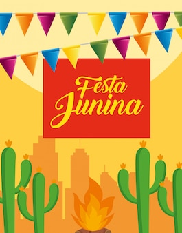 Banner festa con piante di cactus e fuoco di legna