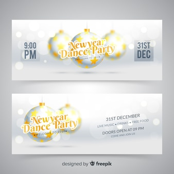 Banner festa del nuovo anno 2019 realistici