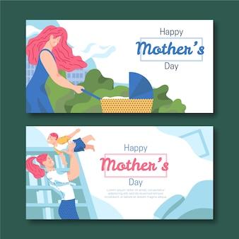 Banner festa della mamma in design piatto