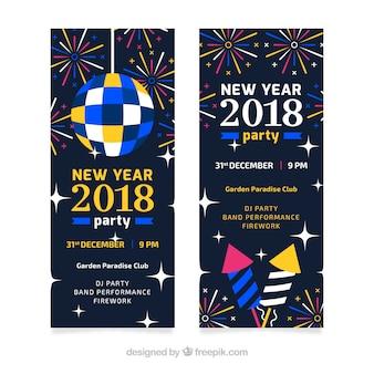 Banner festa di capodanno 2018 con palla da discoteca