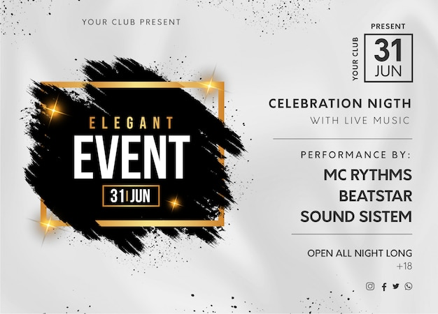 Banner festa elegante evento con spruzzata nera