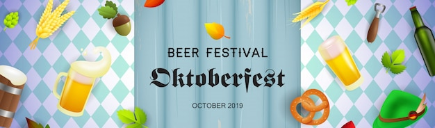 Banner festival della birra con realistici oggetti di produzione di birra
