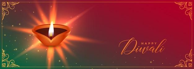 Banner festival di diwali con diya