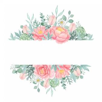 Banner floreale peonia dell'acquerello con fiori di eucalipto, tulipano e carciofo