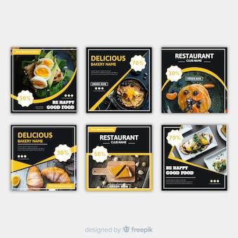 Banner fotografico di cibo quadrato piatto