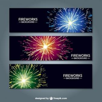 Banner fuochi d'artificio vettore