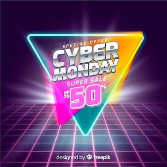 Banner futuristico cyber lunedì retrò