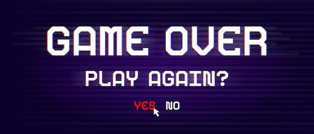 Banner game over per giochi con effetto glitch in stile pixel.