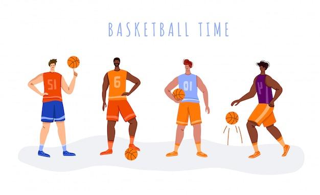 Banner - giocatori di basket con palline e spazio di copia o testo, uomini atletici muscolosi in uniforme sportiva, squadra di basket