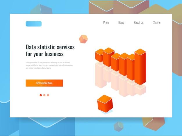 Banner grafico a barre, concetto di statistica e pianificazione, analisi dei dati di business