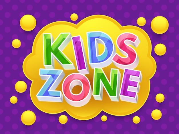 Banner grafico kids zone per sala giochi per bambini.