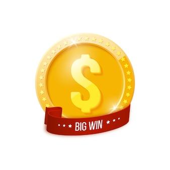 Banner grande vittoria con moneta d'oro.