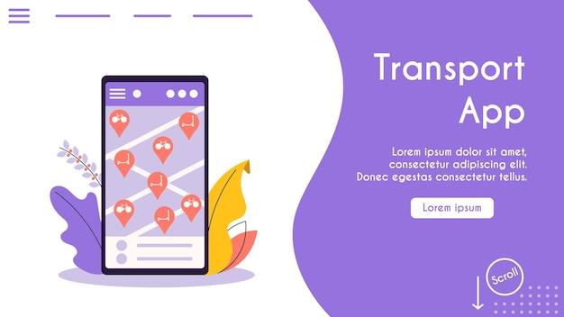 Banner illustrazione del trasporto urbano eco. cerca, noleggia l'app mobile per i trasporti. mappa dello schermo dello smartphone, icone di biciclette elettriche disponibili, scooter. infrastruttura moderna
