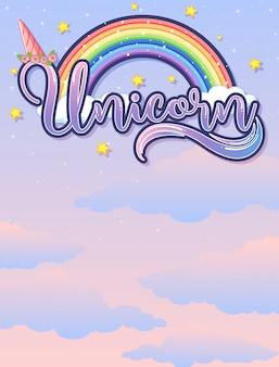 Banner in bianco con logo unicorno sullo sfondo del cielo pastello