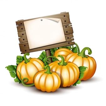 Banner in legno con zucche arancioni. illustrazione autumn harvest festival o il giorno del ringraziamento. verdure ecocompatibili.